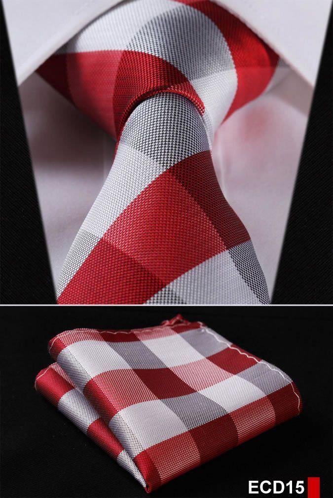 Men/'s Silk Pocket Square Blue /& Red Checkered Plaid Wedding Handkerchief