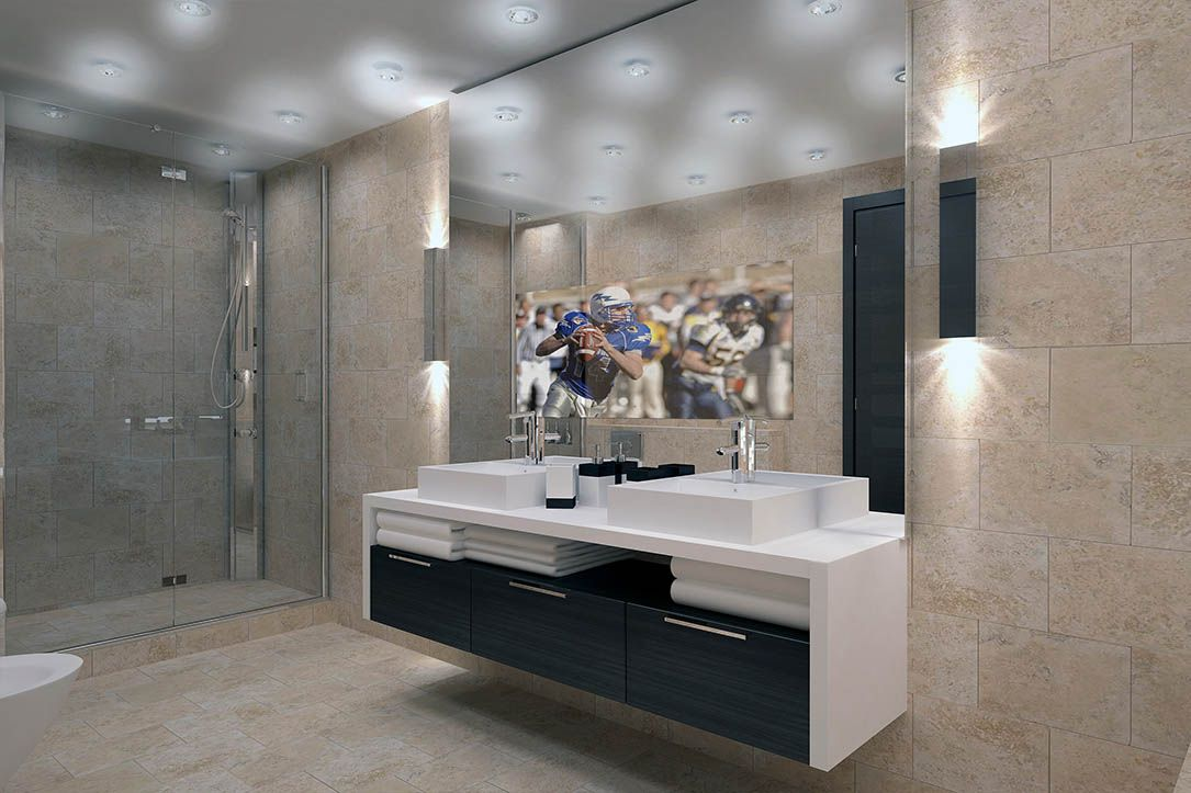 Vanity Mirror TV | Tv in bathroom, Mirror tv, Frameless ...