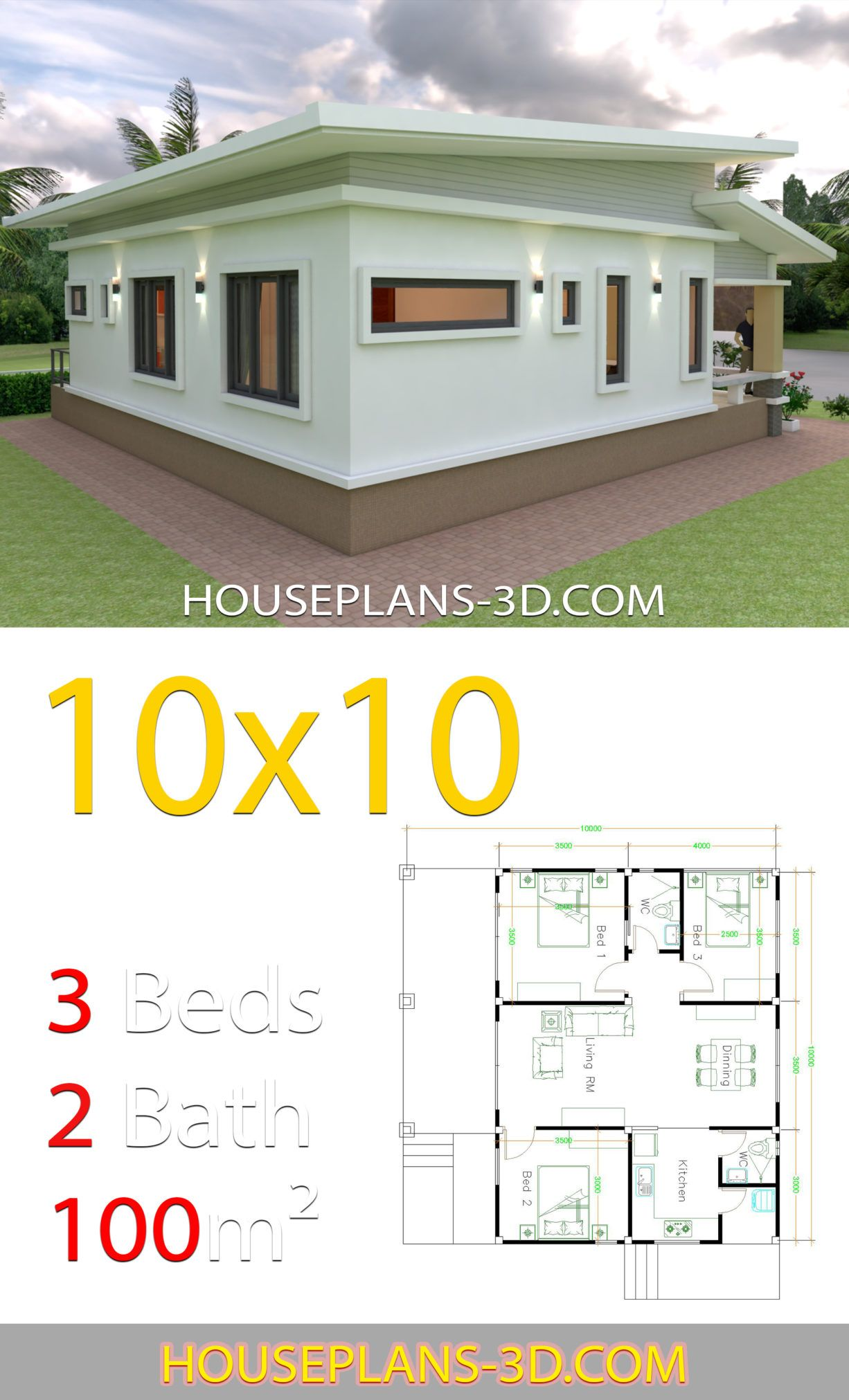 10x10 Bedroom Plans: House Design Plans 10x10 With 3 Bedrooms Full Interior Di