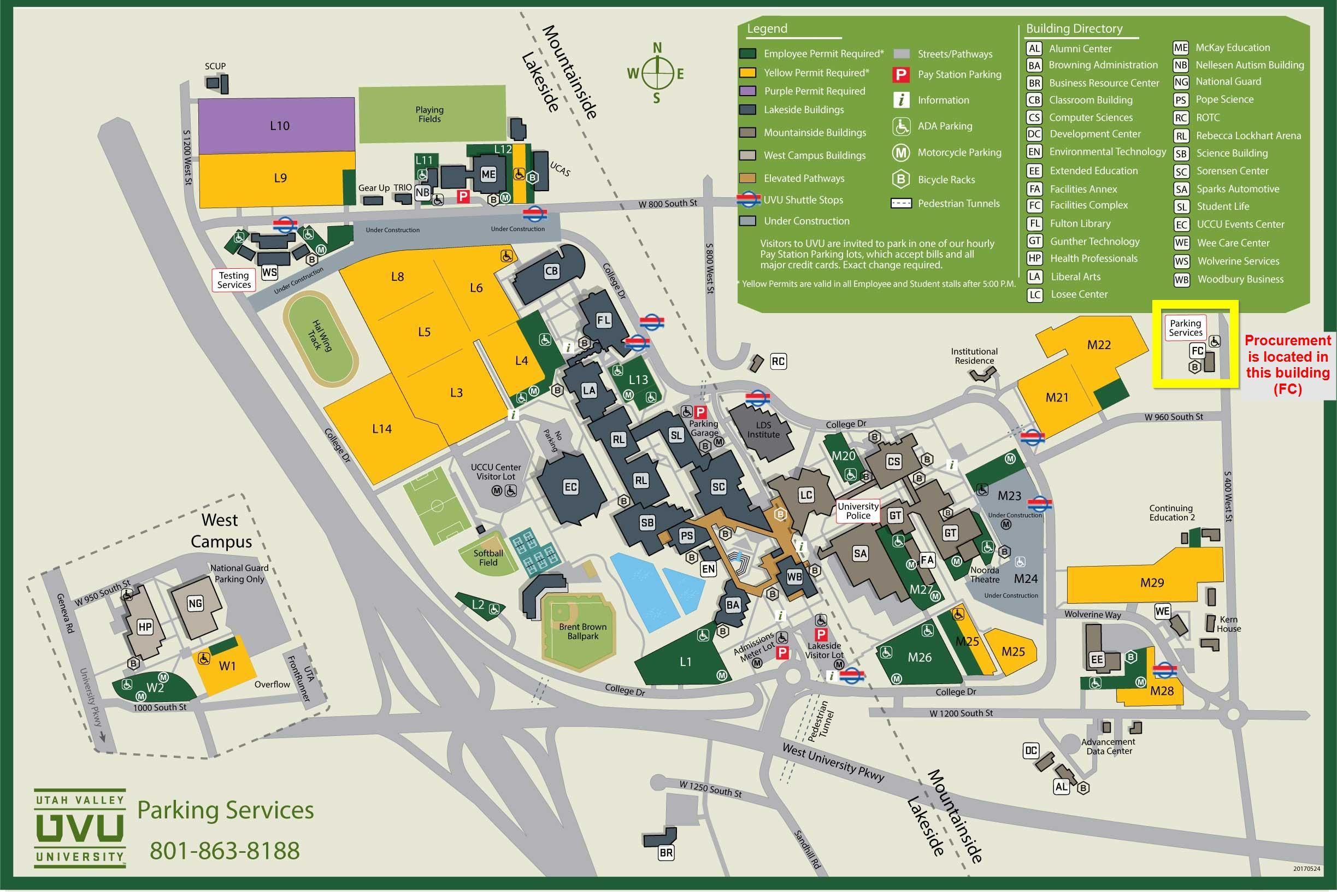 map of uvu campus Uvu Campus Map Campus Map West Campus Locations map of uvu campus