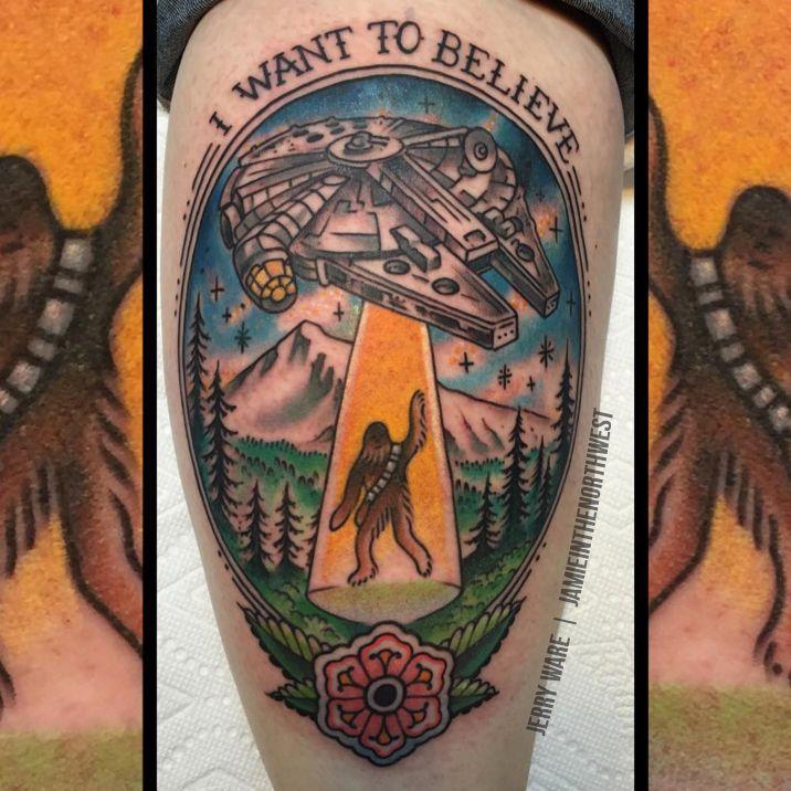Small X Files Tattoo: X-Files / Star Wars Mashup Tattoo