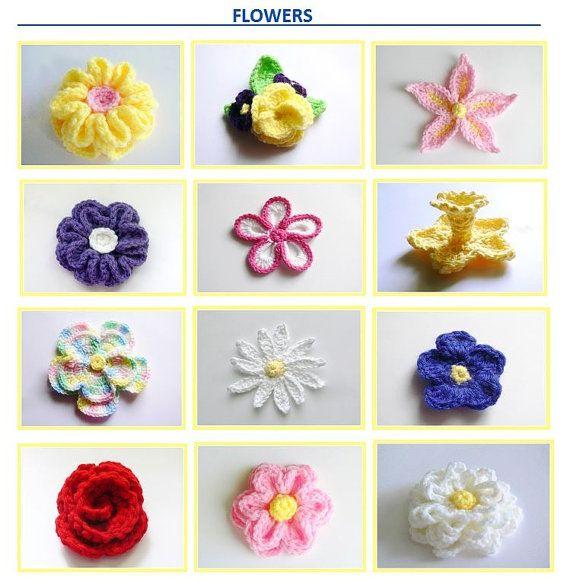 Crochet Pattern - 10 Crochet Flowers - 3 Headbands - Baby, Toddler ...
