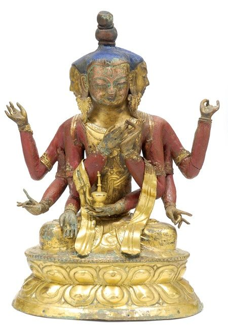 ushnisha-vijaya-mongolia-18th-c-gilt-cop-rep-pig-37-cm-mossgreen.jpg (450×649) Ushnisha Vijaya, Mongolia, 18th century, gilt copper repoussé and pigments, 37 cm, private collection