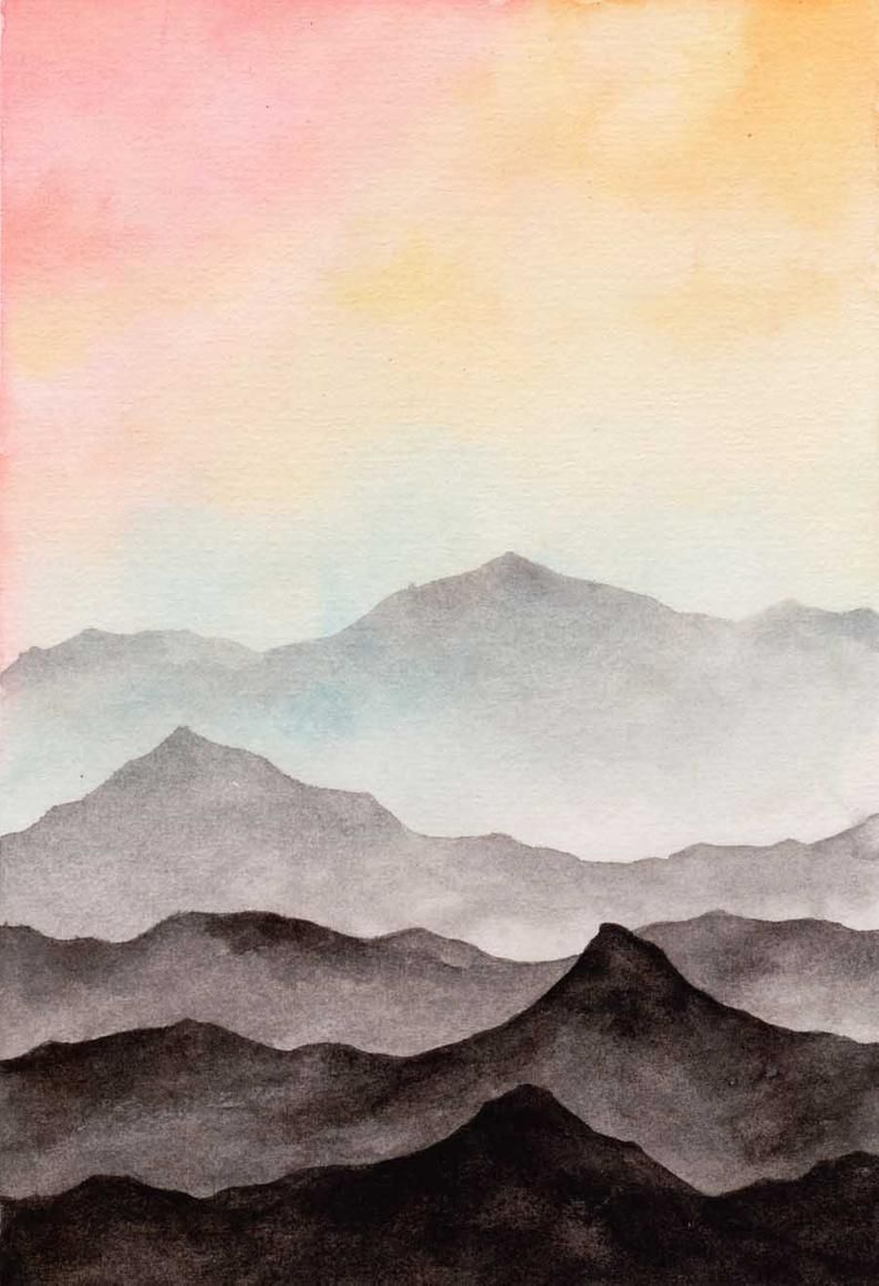 Abstract Landscape Watercolor Art Print Dreamy Sky Black
