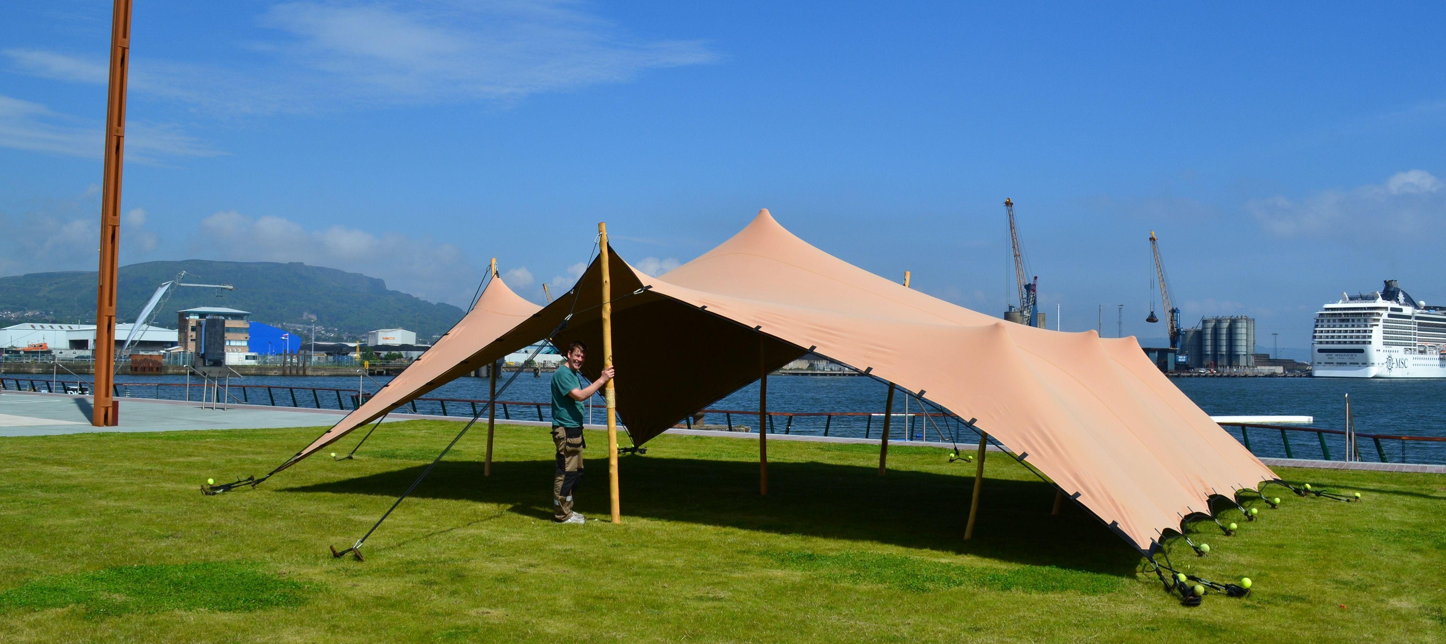 10m x 7.5m u0027Babyu0027 Biege Stretch Tent set up at Titanic Quarter Slipway & 10m x 7.5m u0027Babyu0027 Biege Stretch Tent set up at Titanic Quarter ...