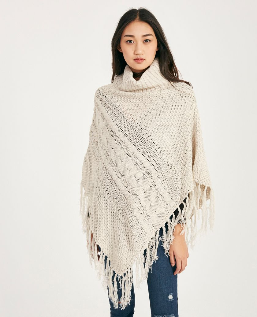 Wet Seal Cable Knit Turtleneck Poncho With Fringe Ivory -size L