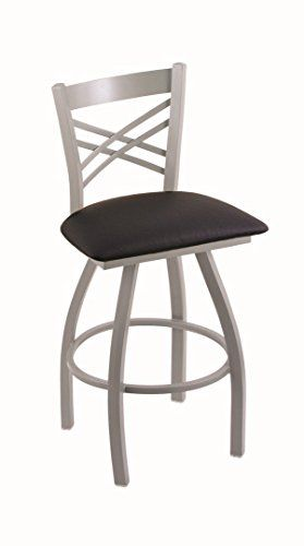 Holland Bar Stool Co. XL 820 Catalina Anodized Nickel Swivel Counter Stool, Black Vinyl