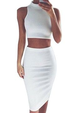 520fe945c64a09 Shop White High Neck Tight Crop Top And Midi Pencil Skirt from choies.com  .Free shipping Worldwide. 19.9