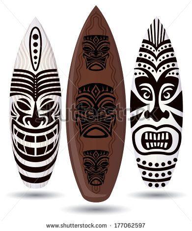 Vector Surf Boards Tiki Mask Design Stock Vector Tikis In
