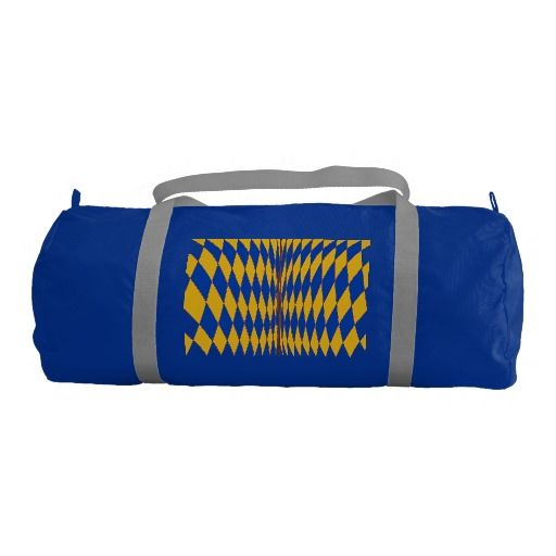 Abstract yellow gold blue diamonds duffle bags gym duffel bag. The blue diamond colors will change to which bag color you choose. The design is printed on both sides.