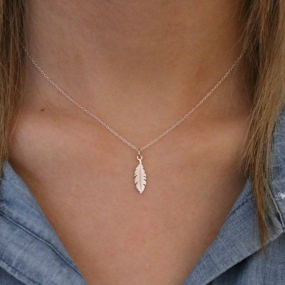 Photo of Tiny Feather Necklace – Sterling Silver Tiny Feather Necklace – Boho Feather Necklace – Native American Feather – Feather Jewelry