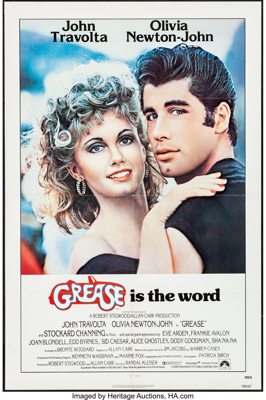 classic movie poster GREASE olivia NEWTON JOHN john TRAVOLTA 50/'s 24X36