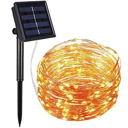 AMIR Solar Powered String Lights 100 LED Starry Fairy 10 Meters Waterproof