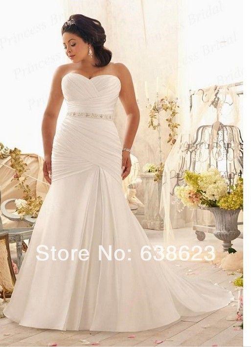 9e9a9aca913 DAW622 Free Shipping Discount Fishtail Sweetheart Court Train Beaded Waist  Pleats Satin Plus Size Wedding Dresses