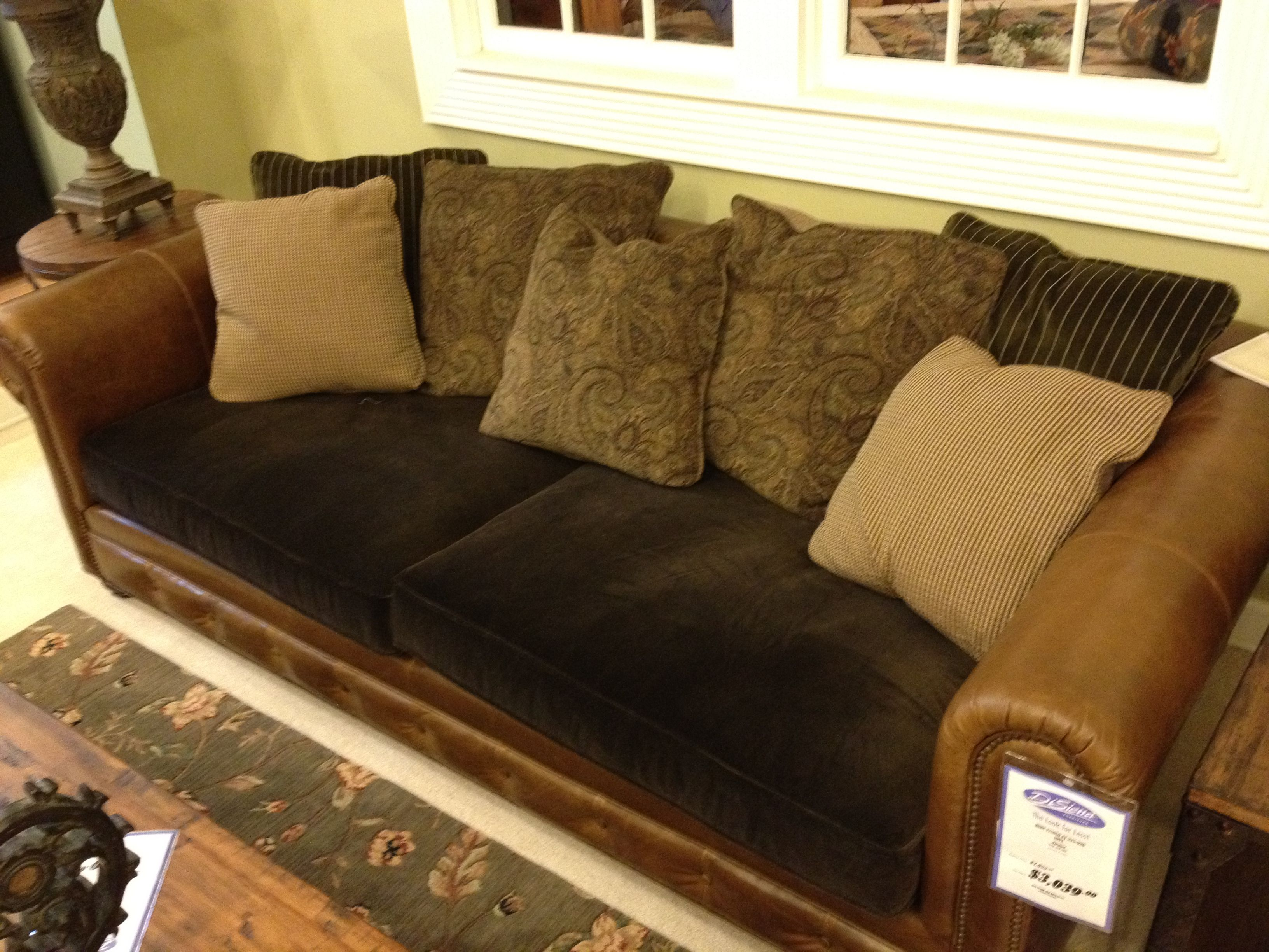 Leather couch with fabric cushions Furniture
