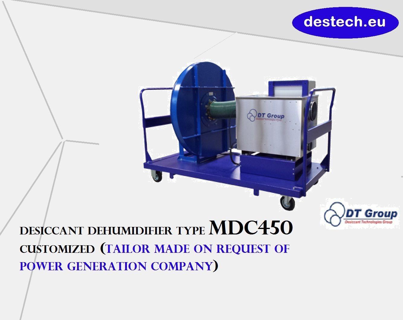 Desiccant dehumidifier type MDC450 from Destech.eu