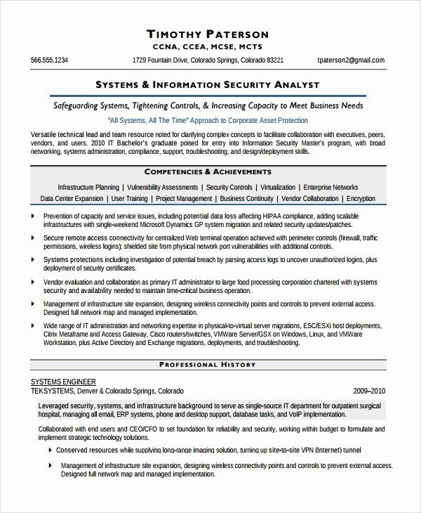 Cyber Security Analyst Resume Unique Sample Information