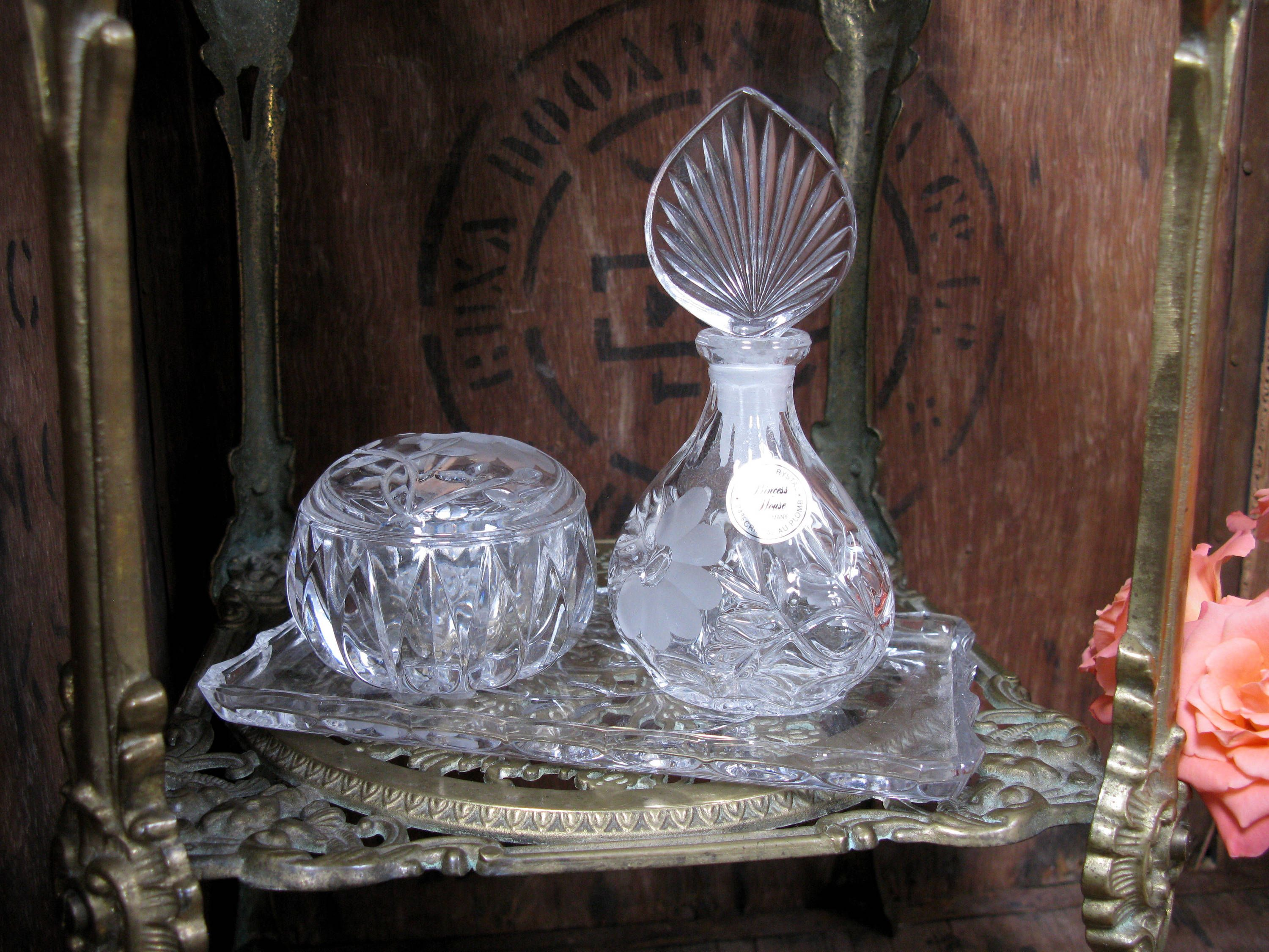 A vintage Princess House crystal dressing table set by Orchard ...