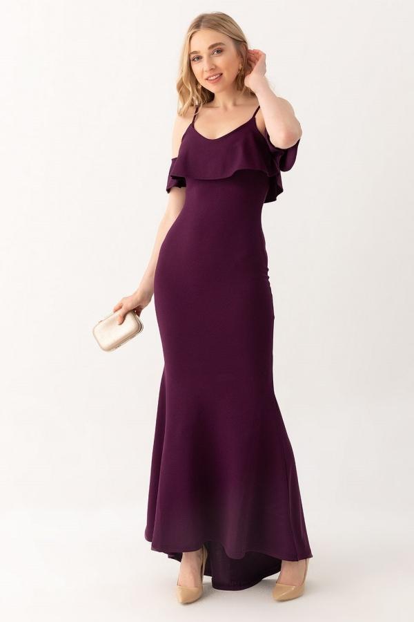 Mor Dusuk Omuz Balik Uzun Abiye 196 Kapida Odemeli Ucuz Bayan Giyim Online Alisveris Sitesi Modivera Com Elbise Elbise Modelleri Elbiseler
