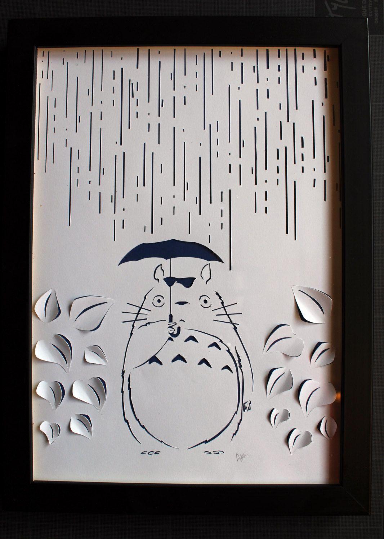 Tableau Totoro Papier Decoupe Blanc Papercut Sur Fond
