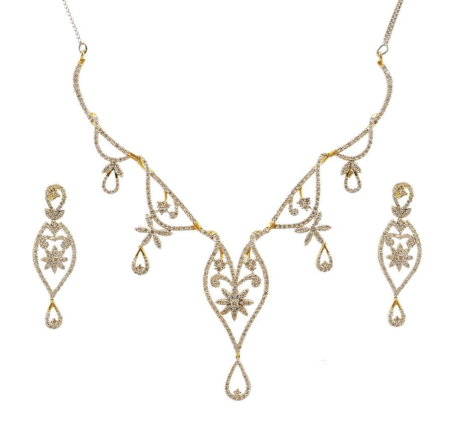 Bridal necklace set ct natural certified gold festive simple