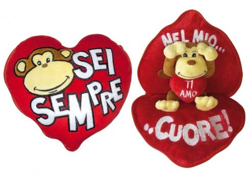 MONKEY CUORE SOSPRESA. Mini cuore peluche con zip, all'interno è possibile trovare una dedica e una piccola scimmia