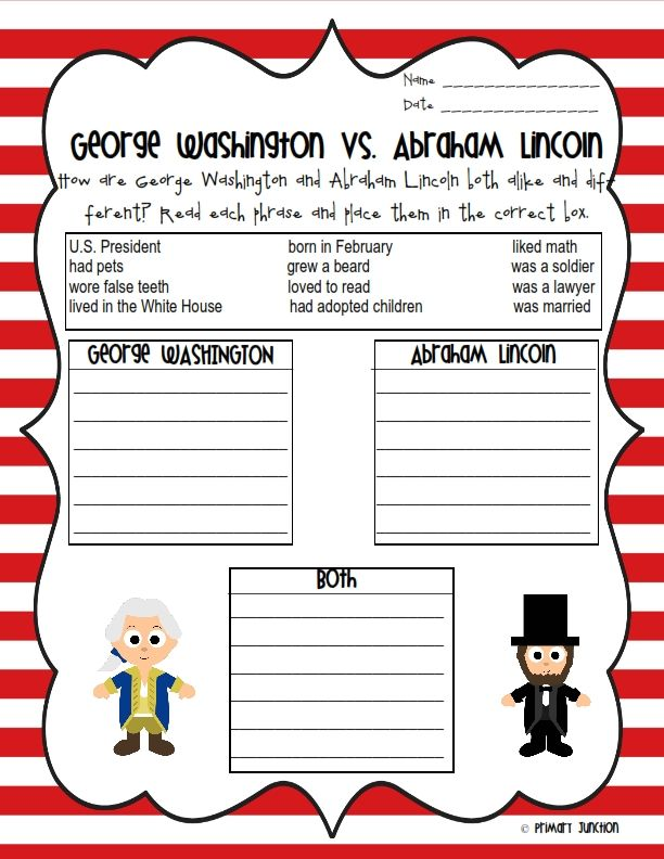 George Washington Abraham Lincoln Reader Sorting