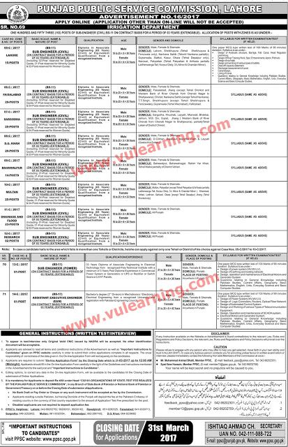 Ppsc Sub Engineers Civil Engineer Jobs   Jobs