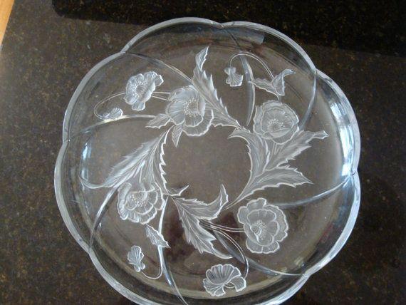 Mikasa Crystal Platter Poppy or Rose of Sharon Pattern | Mikasa ...
