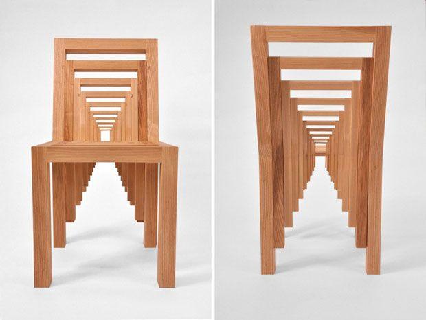 Inception Chair es una silla compuesta por 10 partes que se unen como rompecabezas generando una increíble ilusión óptica.