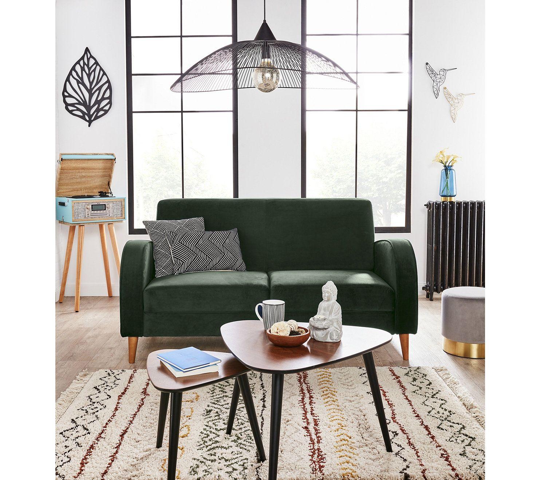 On Adopte Le Canape Brahms En Velours Vert Pour Egayer Le Salon But Decoration Maison Meuble Canape Canape