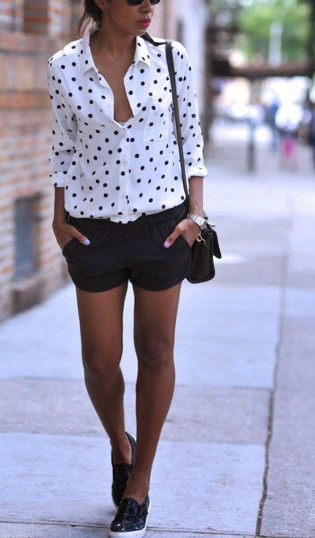 punto negro tenis shorts blanca con negros negros blusa wtvEzafqEO