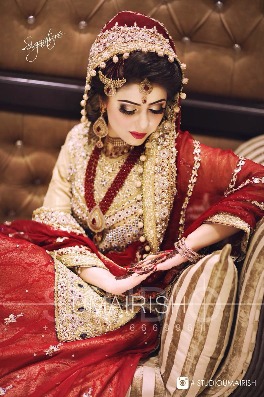 the jewelry and dress < wow i brides like the shade of red more