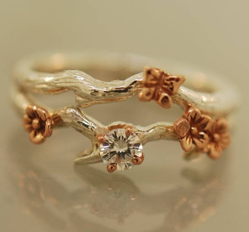 Cherry Branch with Butterfly Set, Moissanite Ring, rose