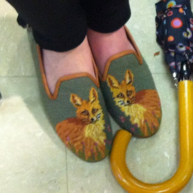 My friend had these cute cross stitched fox shoes!