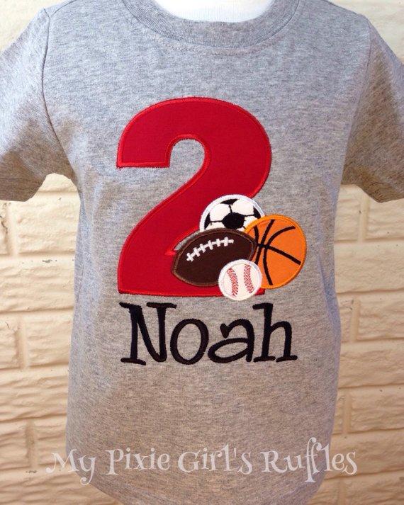 Monogrammed Sports Themed Birthday T Shirt