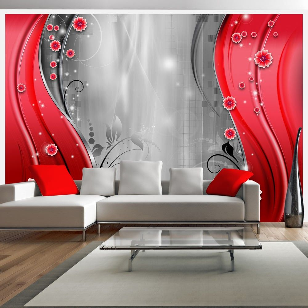 Best Wallpaper Behind The Curtain Of Red Ceiling Design 400 x 300