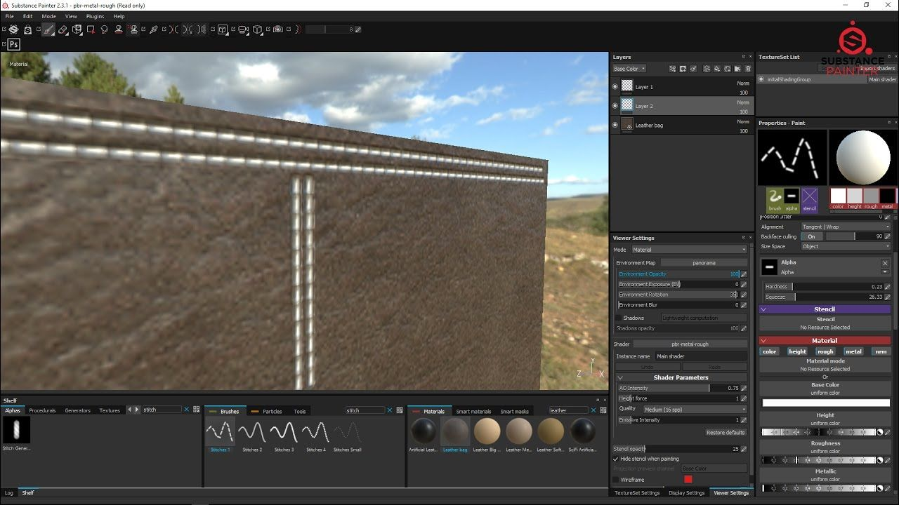 Substance painter 2.3.1 tutorial : How to create Leather Stitches