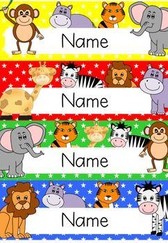 zoo animal desk name plates labels editable classroom