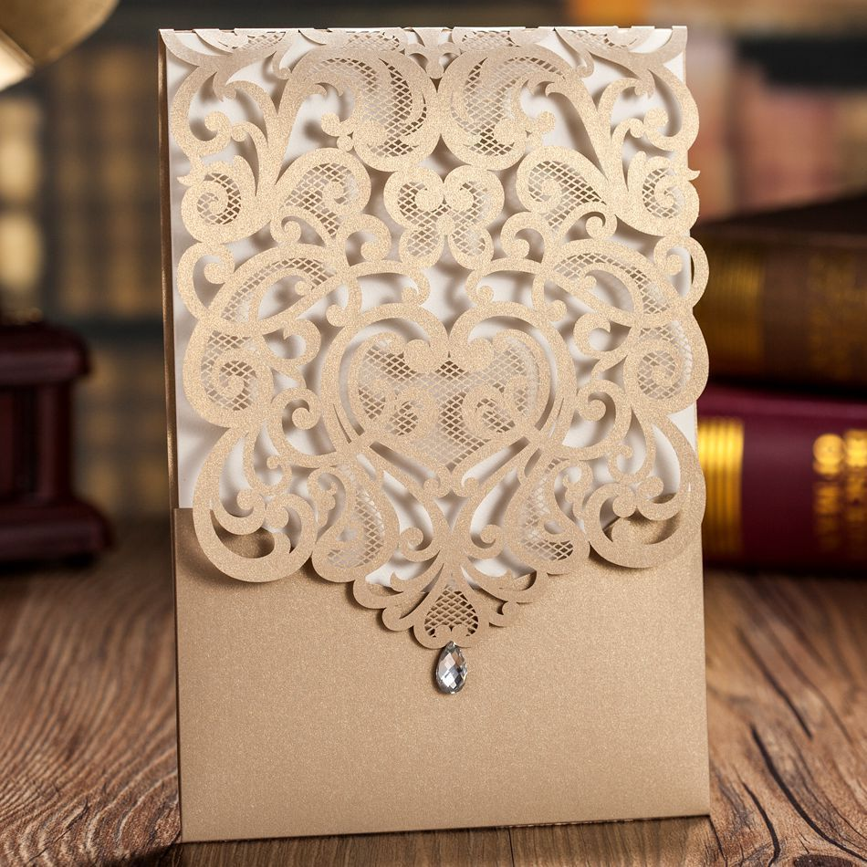 Luxury Korean Style Fantastic Gold Laser Cut Wedding Invitations Cards With Rhinestones Free Shipping: Wedding Invitations With Rhinestones At Reisefeber.org