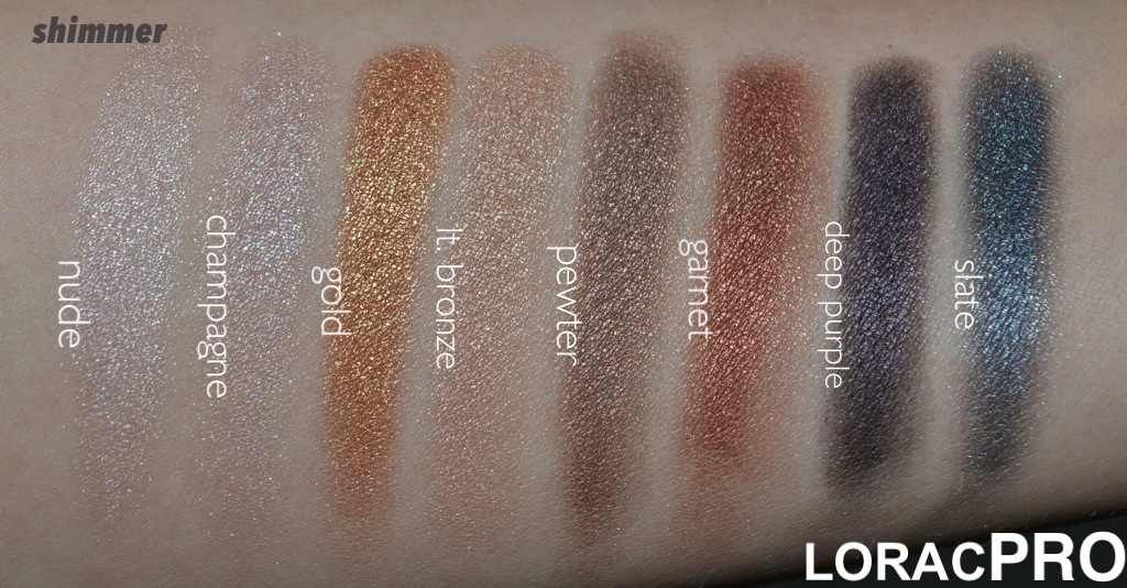 lorac the pro palette swatches - gold, bronze, and pewter used on ...