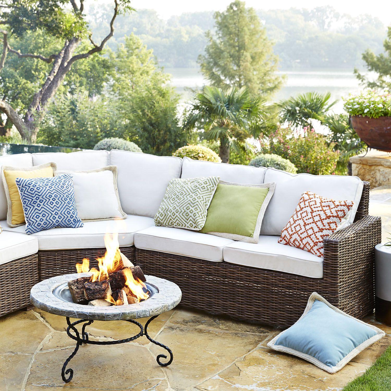 Echo Beach Left Arm Facing Loveseat Latte Outdoor Furniture Sets Outdoor Furniture Outdoor Seating Areas