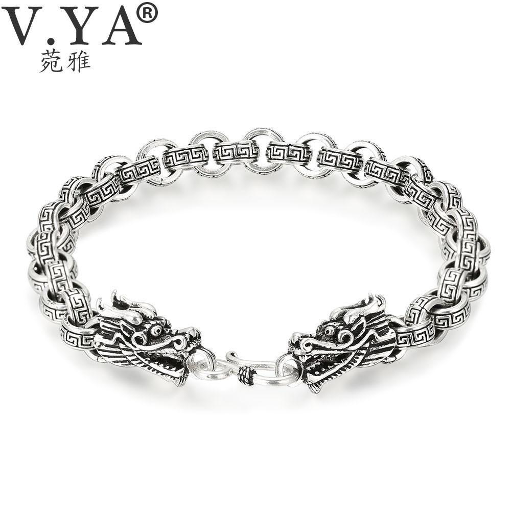 VYA Punk Men Jewelry Thai Silver Bracelets for Men Infinity Pattern