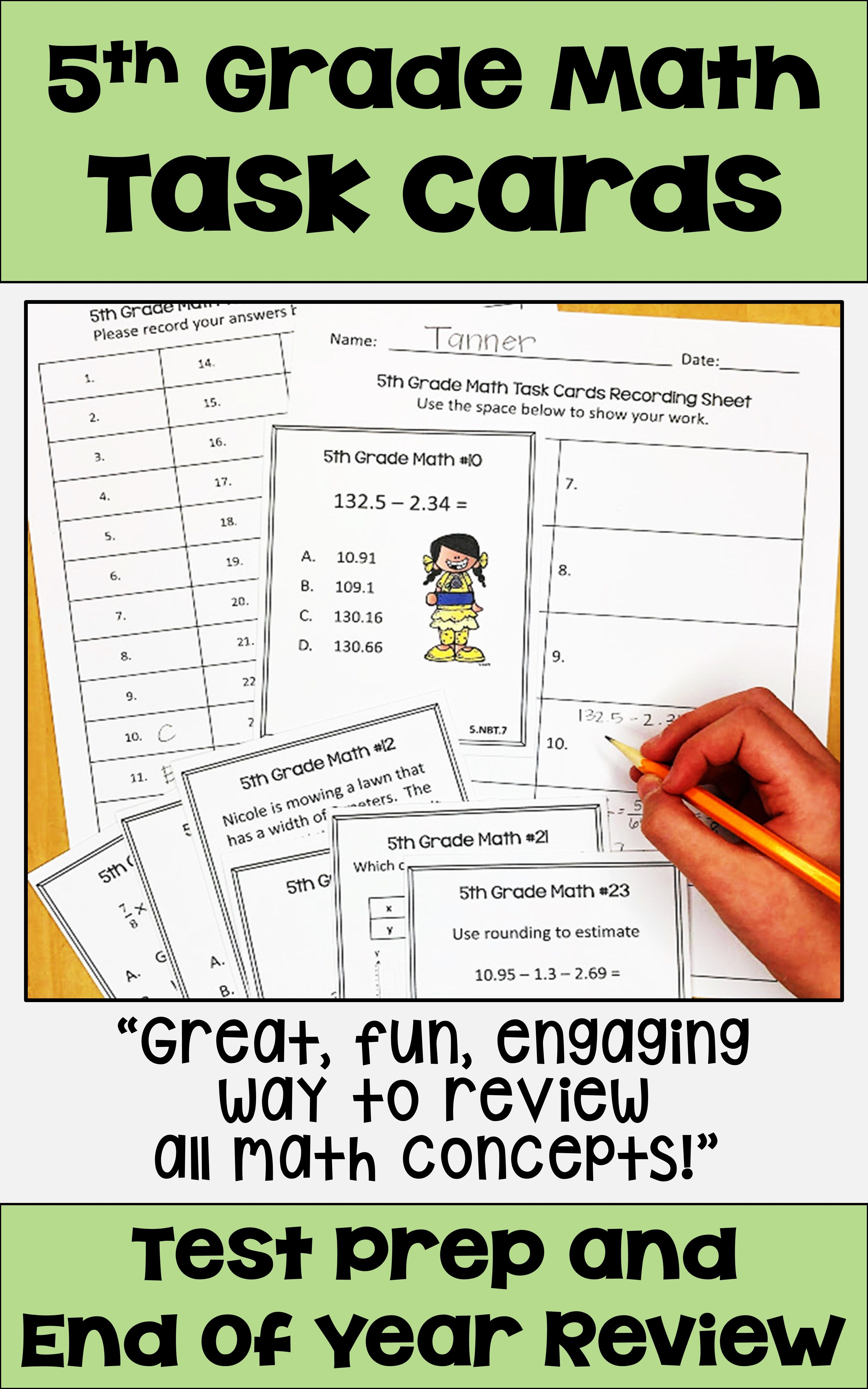 5th Grade Math Task Cards For Review And Test Prep 5th Grade Math Math Task Cards