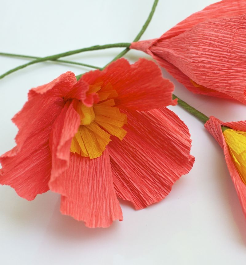 OR Crepe Paper Poppies. Different shades of grey & white May be hard to find in crepe paper?