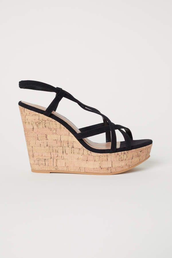 a23925733b4 H&M Wedge-heel Sandals - Black - Women | Products | Wedge heels ...
