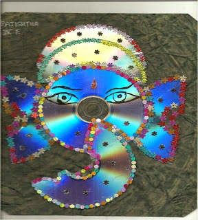 Beautiful indian hindu god lord ganesha craft from waste for Indian waste material things