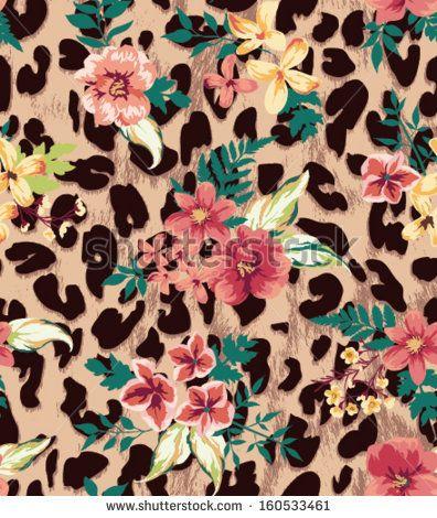 Vintage Seamless Flower Mix Leopard Vector Pattern