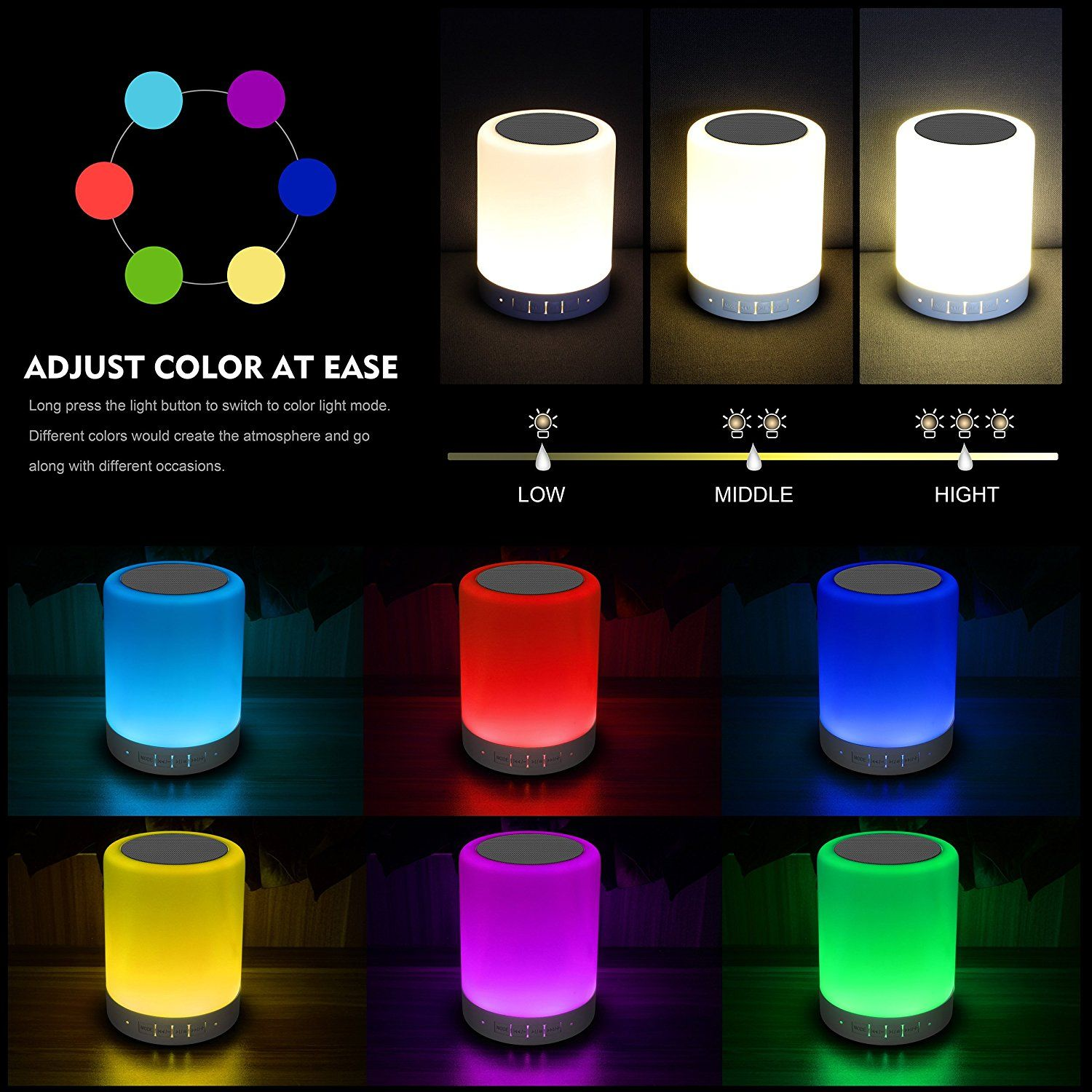 Amazon Com Elecstars Touch Bedside Lamp With Bluetooth Speaker Dimmable Color Night Light Outdoor Tabl Bedside Lamp Dimmable Table Lamp Best Gifts For Men
