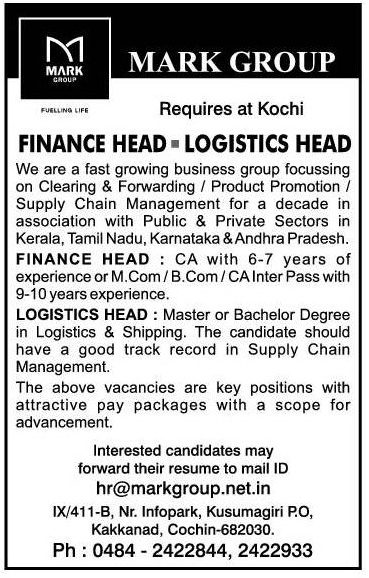 Mark Group Requires Finance Head And Logistics Head At Kochi